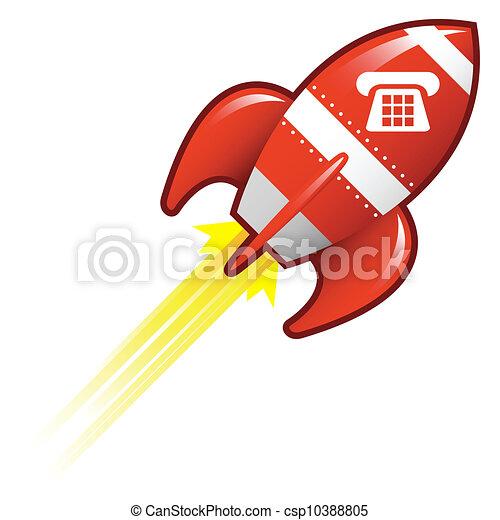 電話アイコン, ロケット, レトロ - csp10388805