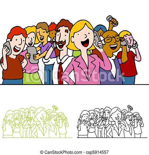 電話, 人々, 群集, 使うこと - csp5914557