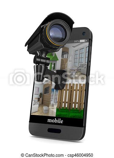 電話, 圖像, 被隔离, 背景。, 照像機, 白色, 3d - csp46004950
