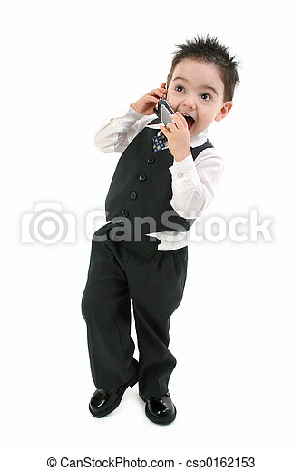 電話, 子供司厨員, スーツ - csp0162153