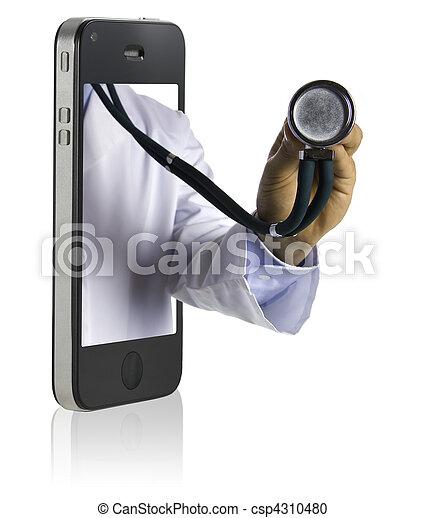 電話, 痛みなさい, 医者 - csp4310480
