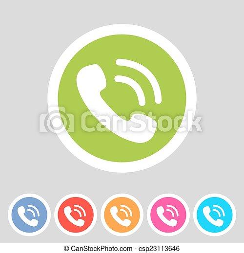 電話, 電話, 平ら, アイコン - csp23113646