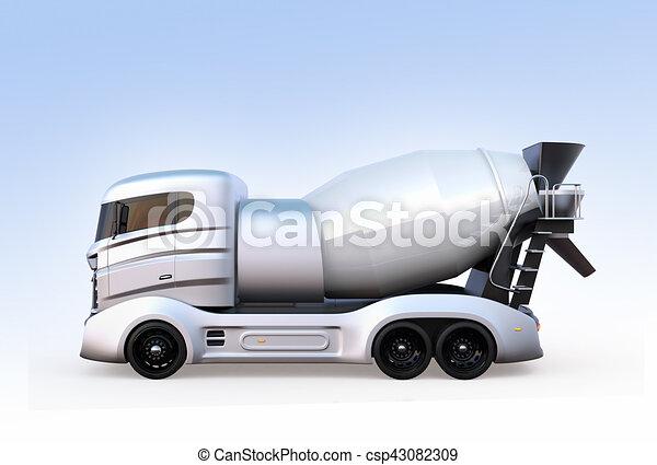 青いライト, 隔離された, ミキサー, コンクリート, トラック, 背景, サイド光景 - csp43082309