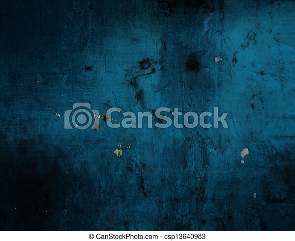 青い壁, グランジ, 手ざわり, 背景 - csp13640983