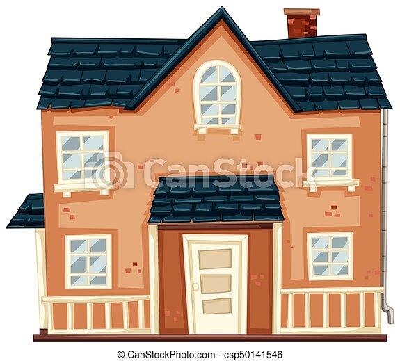 青い家 れんが 屋根 イラスト