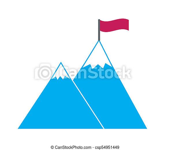 青い山, 概念, ゴール, 単純である, シンボル, 障害, リーチ, 雪, hight, 旗, ベクトル, 目的を達しなさい, カバーされた, シャープ, 勝ちなさい, ターゲット, 赤, アイコン - csp54951449