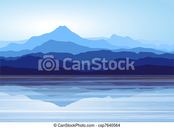 青い山, 湖 - csp7640564