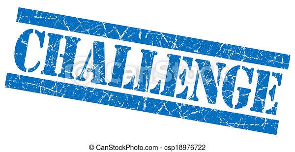 青い正方形, グランジ, 切手, 挑戦, 隔離された, textured, 白 - csp18976722