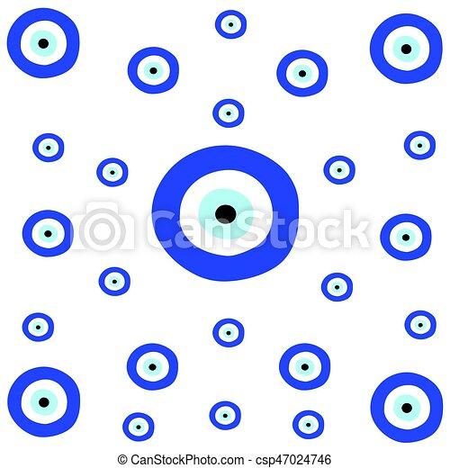 青い目, 手ざわり, ギリシャ語, 悪, tileable - csp47024746
