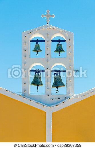 青い空, に対して, ギリシャ教会, 鐘 - csp29367359