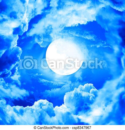 青い空, 月 - csp8347967