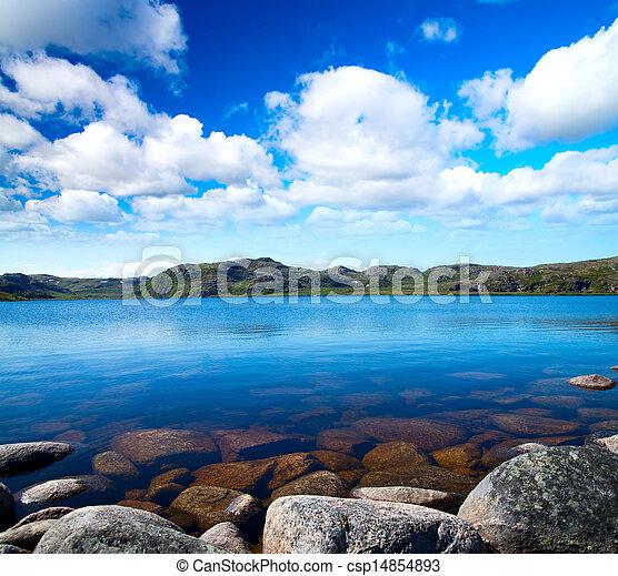 青い空, 湖, 曇り, 下に, idill - csp14854893