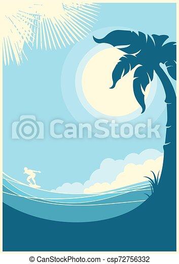 青い背景, トロピカル, 海, 波, .vector, 風景 - csp72756332