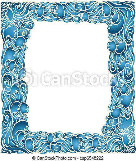 青い背景, 波, 海洋, ベクトル, グラフィック, フレーム, decotation. - csp6548222