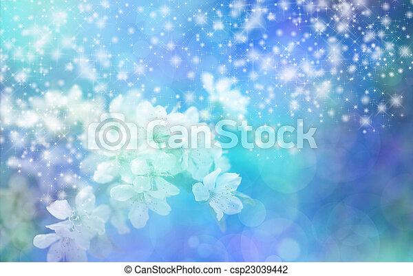 青い花, bann, 光っていること, 結婚式 - csp23039442