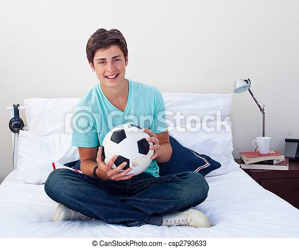 青少年, 他的, 球, 藏品, 寢室, 人, 足球 - csp2793633