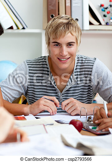 青少年, 學習, 人, 圖書館, 肖像 - csp2793566