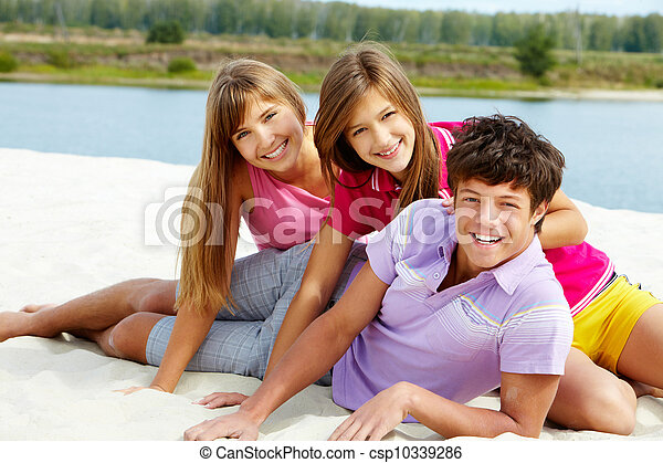 青少年, 海灘 - csp10339286