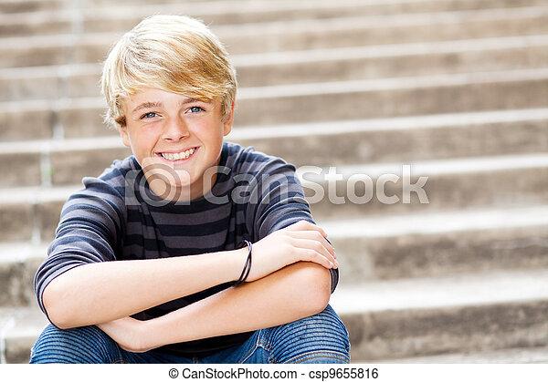 青少年, 漂亮, 男孩, 人物面部影像逼真, 肖像 - csp9655816