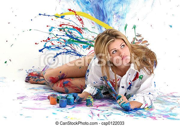 青少年, 畫, 婦女 - csp0122033