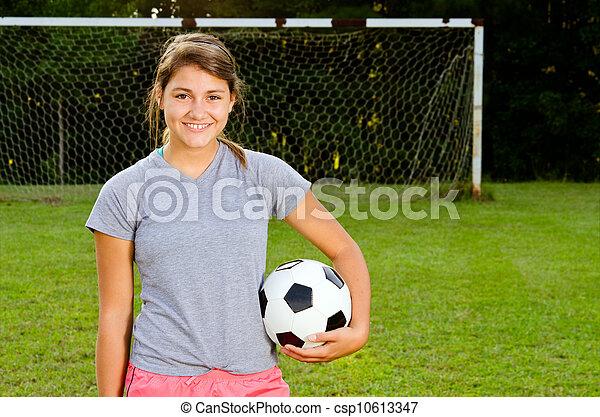 青少年, 表演者, 領域, 肖像, 女孩, 足球 - csp10613347