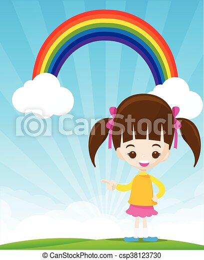 青 かわいい わずかしか 指すこと 虹 空 イラスト ベクトル 指
