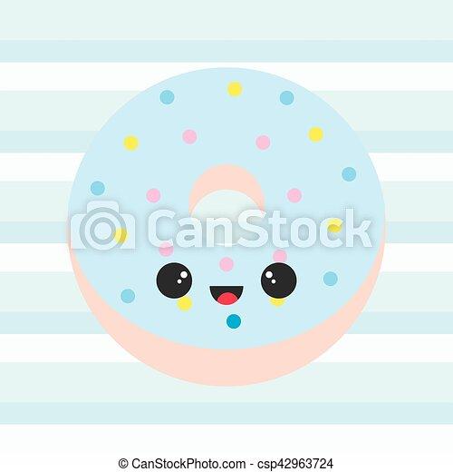 青 かわいい ストライプ イラスト シャワー ドーナツ 背景 赤ん坊