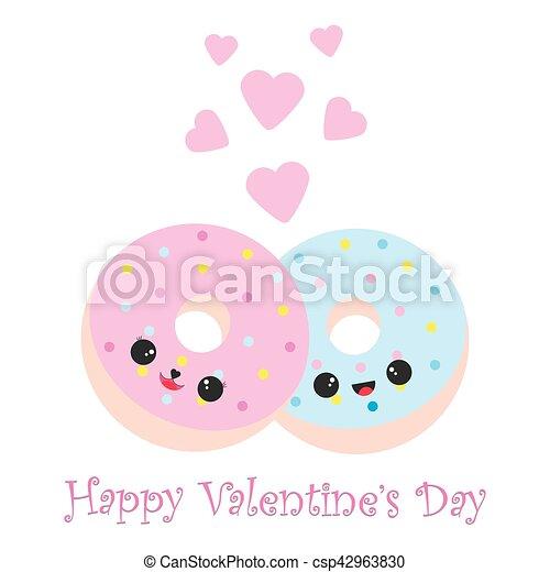 青 かわいい バレンタイン ドーナツ イラスト ピンク 青 かわいい