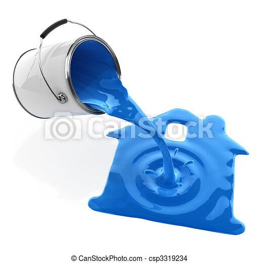 青, たたきつける, シルエット, 家, バケツ, ペンキ - csp3319234