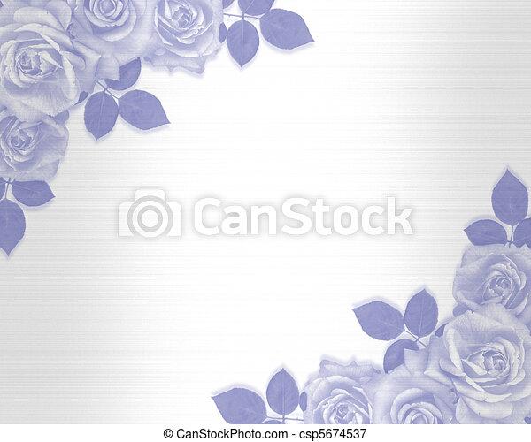 青, ばら, 結婚式の招待 - csp5674537