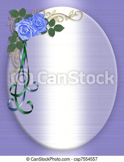 青, ばら, 結婚式の招待 - csp7554557