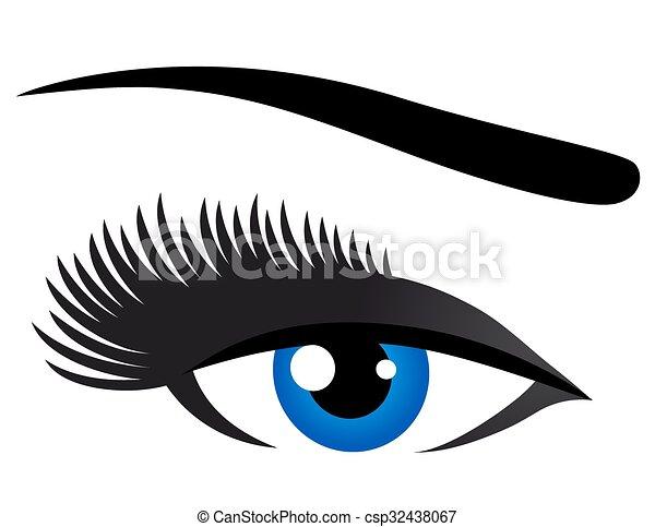 青, まつげ, 目, 長い間 - csp32438067