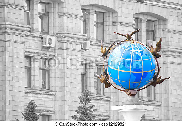 青, ウクライナ, 広場, のまわり, 地球, 平和, それ, 地球である, 鳩, 像, kiev, 独立 - csp12429821