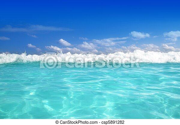青, カリブ海, 波, 水, 地平線 - csp5891282