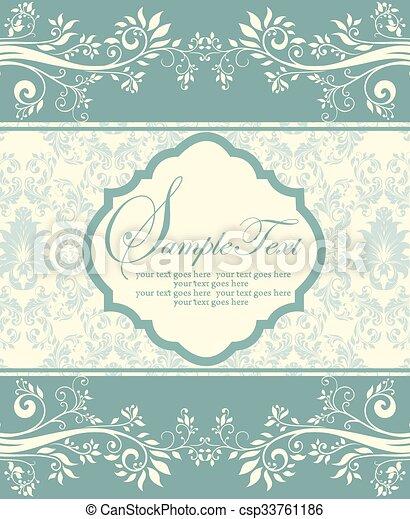 青, カード, 招待, 花 - csp33761186