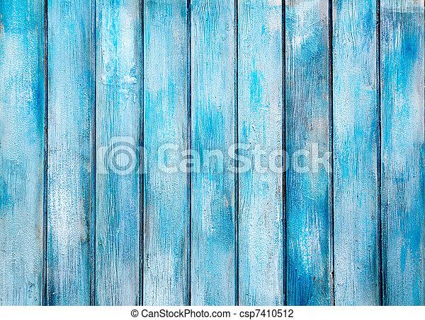 青, グランジ, ペイントされた, 手ざわり, 木, 年を取った - csp7410512