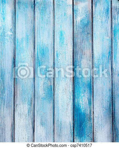 青, グランジ, ペイントされた, 手ざわり, 木, 年を取った - csp7410517
