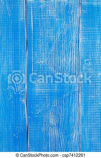 青, グランジ, ペイントされた, 手ざわり, 木, 年を取った - csp7412261