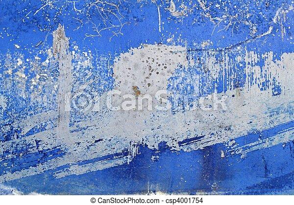 青, グランジ, 壁, 手ざわり, ペンキ, 背景, 年を取った - csp4001754