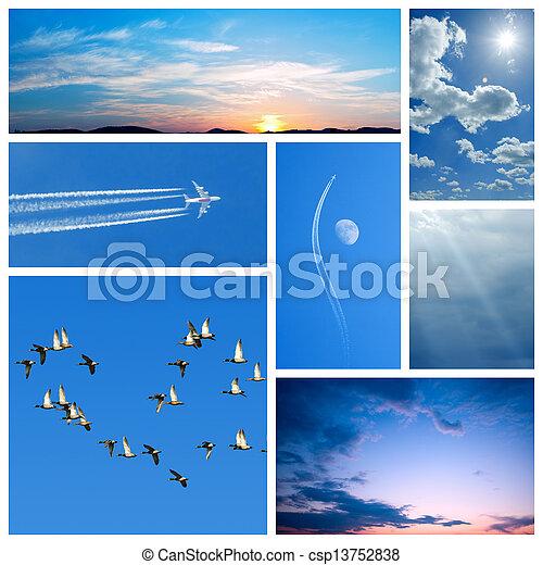 青, コラージュ, sky-related, イメージ - csp13752838