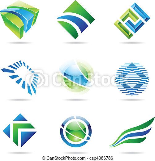 青, セット, 抽象的, アイコン, 1, 緑, 様々 - csp4086786
