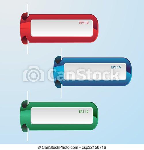 青, セット, 抽象的, ラベル, ベクトル, 緑の赤 - csp32158716