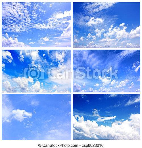 青, セット, 6, 空, コレクション, 日光 - csp8023016