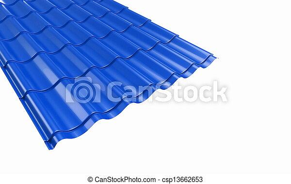 青, タイル, 金属, 屋根 - csp13662653