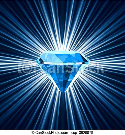 青, バックグラウンド。, 明るい, ダイヤモンド, ベクトル - csp13928878
