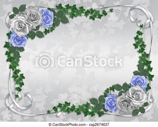 青, バラ, 結婚式, ボーダー, 招待 - csp2674637