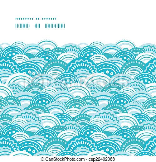 青, パターン, 抽象的, seamless, ベクトル, 背景, 波, 横, フレーム - csp22402088