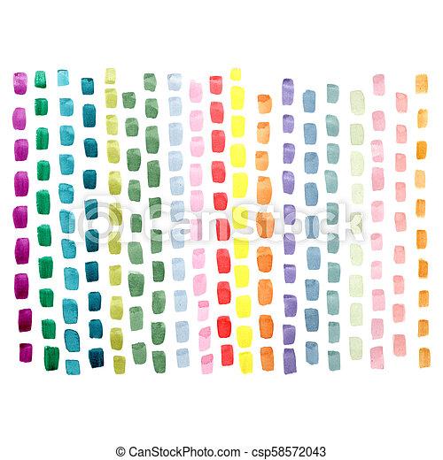 青, ピンク, ペイントされた, 抽象的, 黄色, 手, ストローク, 色, 緑, ブラシ, 背景, 白 - csp58572043