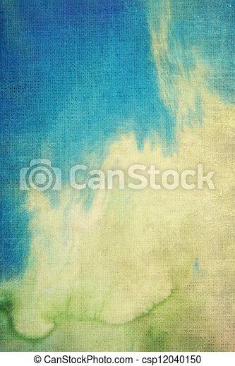 青, ブラウン, 古い, パターン, 抽象的, canvas:, 黄色, 背景, textured, 緑, 背景 - csp12040150