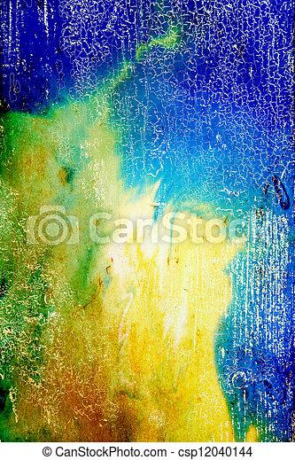 青, ブラウン, 抽象的, パターン, 黄色, 背景, textured, 緑, 背景 - csp12040144